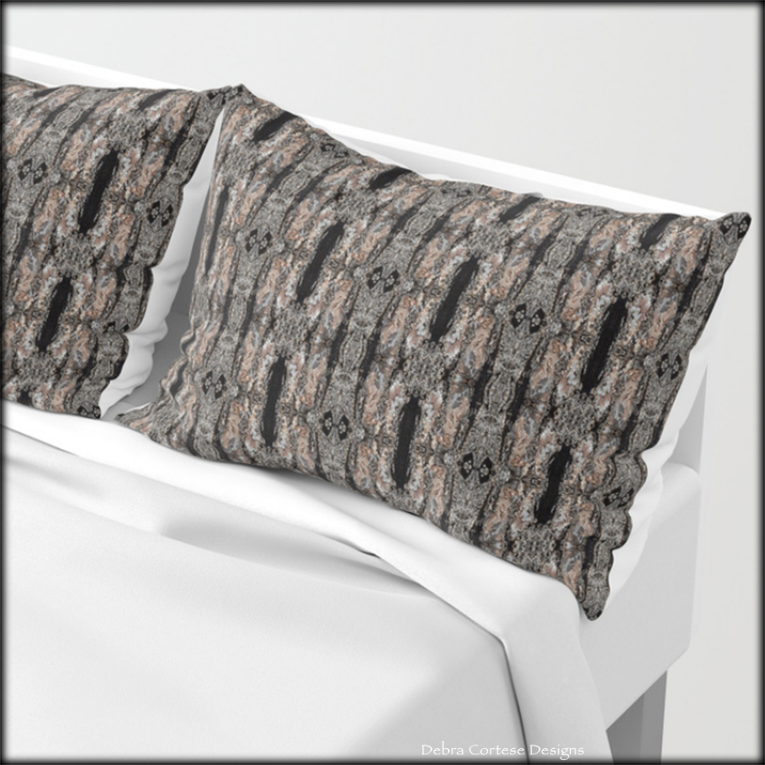 Pine Bark pattern pillow shams by Debra Cortese Designs
