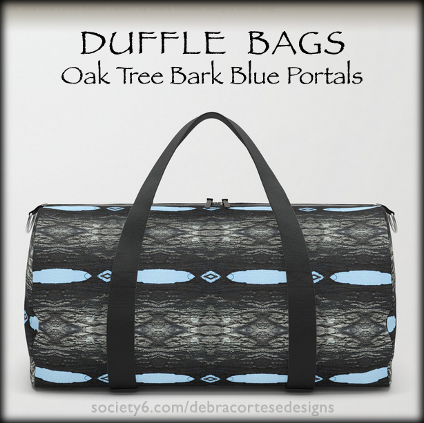 Oak Tree bark with blue portals pattern duffle bag by Debra Cortese