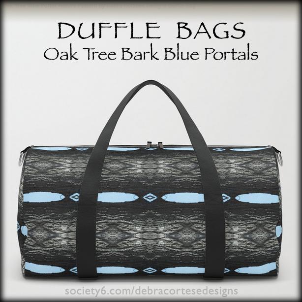 Oak Tree bark with blue portals pattern duffle bag by Debra Cortese