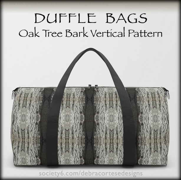 Oak Tree vertical bark pattern on Duffle Bags by Debra Cortese