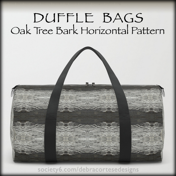 Oak Tree Bark Horizontal Pattern Duffle Bag by Debra Cortese Designs