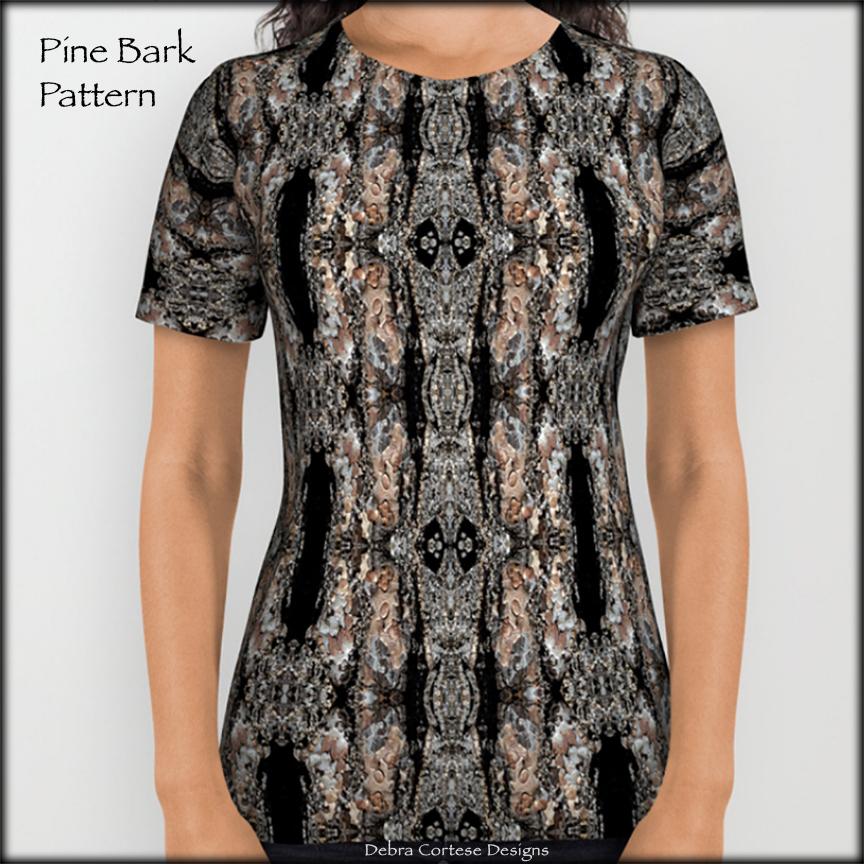 Allover print women's T-shirt in Pine Bark Pattern by Debra Cortese