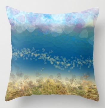 abstract seascape 02 throw pillow by Debra Cortese Designs