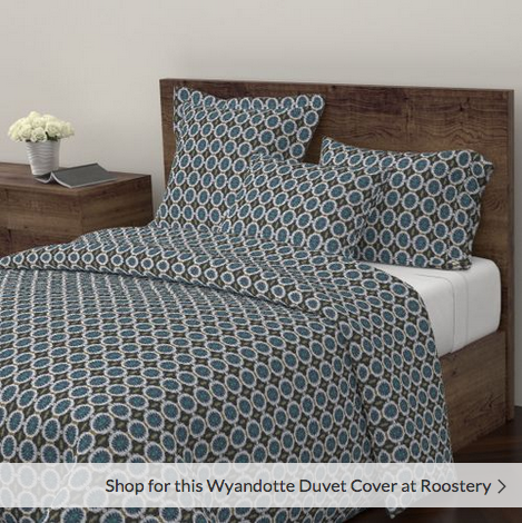 Ocean Blues Pattern Duvet Cover and matching pillows - Debra Cortese Designs