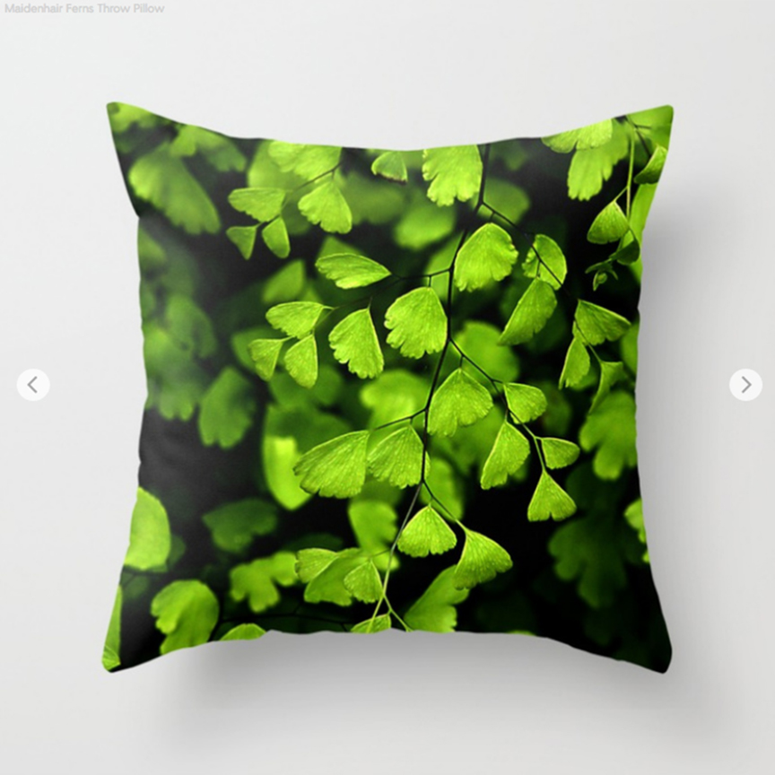 Maidenhair Fern pattern Throw Pillow by Debra Cortese Designs
