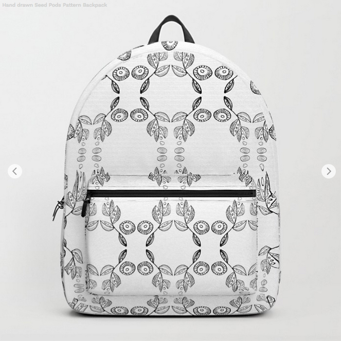 Black on White Seed Pod Pattern Backpack by Debra Cortese Designs
