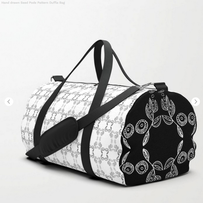 Black & White Seed Pod pattern on Duffle Bags by Debra Cortese Designs