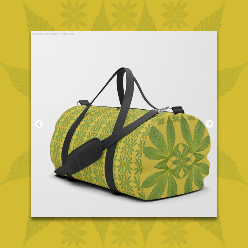 Marijuana leaves pattern Dufflebag by Debra Cortese Designs