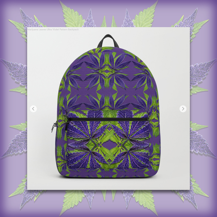 Marijuana Leaves Ultra Violets Pattern Backpack image by Debra Cortese Designs