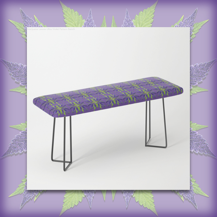 Marijuana Leaves Ultra Violet and Leaf Greens BENCH by Debra Cortese Designs