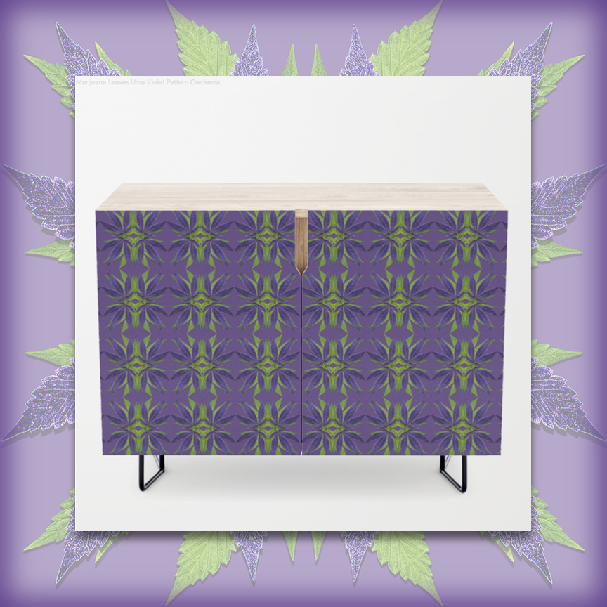 Marijuana leaves Ultra Violet pattern CREDENZA by Debra Cortese Designs