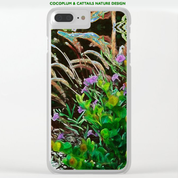 Cocoplum and Cattails nature design on clear iphone case by Debra Cortese Designs