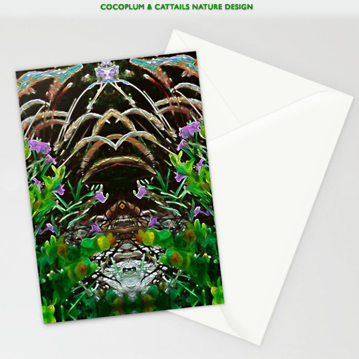 Cocoplum and Cattails Greeting Card by Debra Cortese Designs