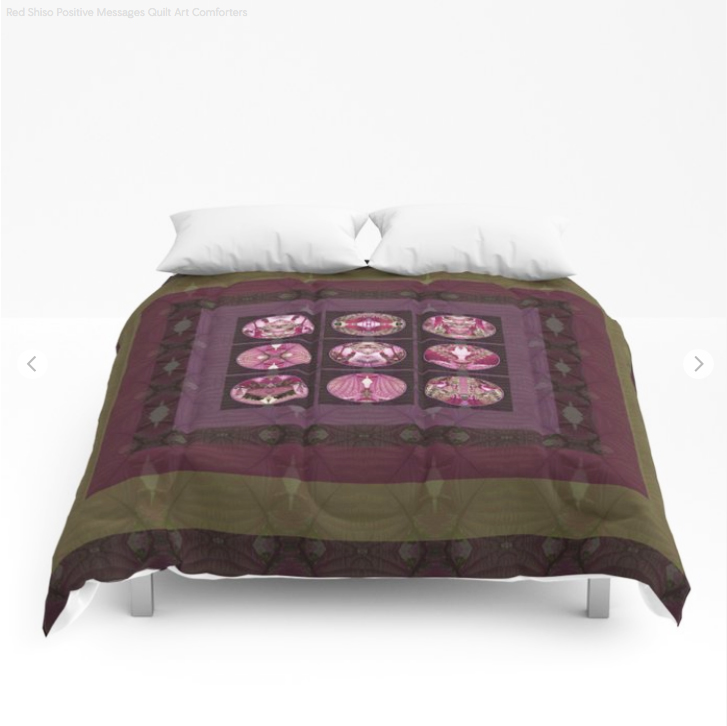 Red Shiso Comforter by Debra Cortese Designs