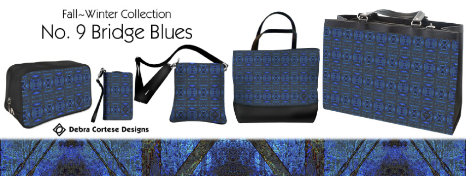 No9 Bridge Blues 5 bag styles by Debra Cortese Designs