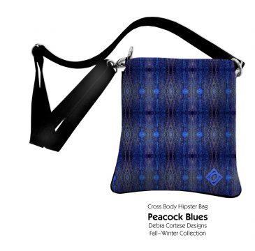 Cross Body Hipster bag - Peacock Diamond Blues design by Debra Cortese